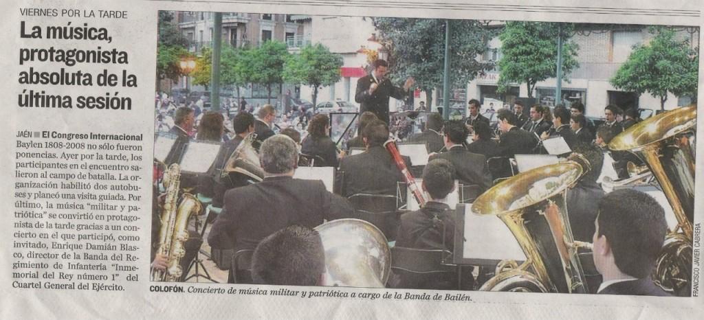 2008 Concierto de Clausura del Congreso Internacional Baylen 1808-2008. Con la Presencia de Enrique Blasco.